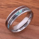 Koa Wood Abalone Tungsten Two Tone Wedding Ring Half Wood/Shell 6mm TUR4023