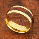 8mm Koa Wood Yellow Gold Plated Stainless Steel Wedding Ring Oval SLR6115