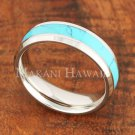 8mm Turquoise Stainless Steel Wedding Ring Beveled Edge SLR6201