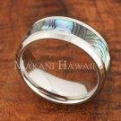 8mm Abalone Shell Stainless Steel Wedding Ring Beveled Edge SLR6301