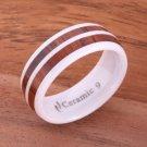 Koa Wood Inlaid High Tech White Ceramic Double Row Wedding Ring 8mm TUR4019