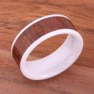 Natural Koa Wood High-tech Ceramic Wedding Ring Flat 8mm TUR4015