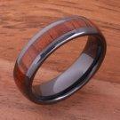 High-tech Black Ceramic Koa Wood Wedding Ring Oval 6mm TUR4006
