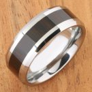 Cocobolo (Red Wood) Inlaid Tungsten Beveled Edge Wedding Ring 8mm TUR063