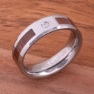 Natural Hawaiian Koa Wood Inlaid Tungsten with CZ Beveled Edge Ring 6mm TPX153