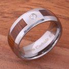 Natural Hawaiian Koa Wood Inlaid Tungsten with CZ Oval Wedding Ring 8mm TPX150