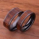 Koa Wood Inlaid High Tech Black Ceramic Wedding Ring Set Flat TUR4007/TUR4008