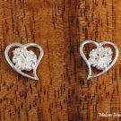 Sterling Silver Hibiscus and Heart Post Earrings SE29207