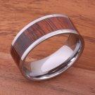 Natural Hawaiian Koa Wood Inlaid Tungsten Flat Wedding Ring 10mm TIP186-10