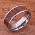 Natural Hawaiian Koa Wood Inlaid Tungsten Flat Wedding Ring 8mm TIP186-8