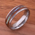 Koa Wood Abalone Tungsten Two Tone Wedding Ring Central Abalone 6mm TUR4025