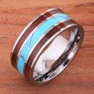 Natural Hawaiian Koa Wood Turquoise Wedding Ring Flat Mens Ring 10mm TUR4030