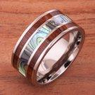Natural Hawaiian Koa Wood Abalone Titanium Wedding Ring Mens Ring 10mm TIR5001
