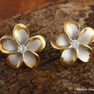 Sterling Silver Rhodium Two-Tone Plumeria with CZ French Clip Earrings SE54855