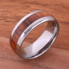 Hawaiian Koa Wood (Big Island Koa) Tungsten Wedding Ring Oval 8mm TUR4001
