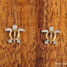 Sterling Silver Two-Tone YG Plated Sea Turtle (Honu) Post Earrings (S) SE23705