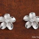 Sterling Silver Rhodium Finish 18mm Plumeria with Clear CZ Post Earrings SE53258