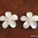 Sterling Silver Two-Tone YG Plated 15mm Plumeria with CZ Post Earrings SE10505