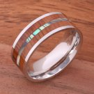 Koa Wood and Abalone Inlaid Stainless Steel Flat Wedding Ring 8mm SLR6305