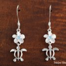 Sterling Silver 8mm Plumeria and Honu with Blue CZ Hook Earrings SE25303