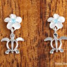 Sterling Silver 8mm Plumeria with Blue CZ and Honu Post Earrings SE22203