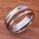 Natural Hawaiian Koa Wood and Abalone Inlaid Tungsten Half/Half Ring 8mm TUR4022