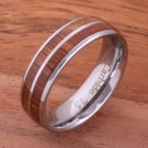 Natural Hawaiian Koa Wood Inlaid Tungsten Double Row Wedding Ring 6mm TUR4004