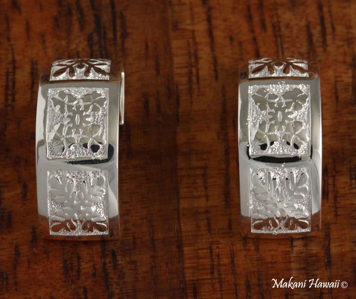 Sterling Silver Hawaiian Quilt Half Moon Post Earrings SE36101