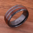 Koa Wood Inlaid High Tech Black Ceramic Double Row Wedding Ring 8mm TUR4011