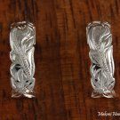 Sterling Silver Hawaiian Scroll Half Moon Post Earrings SE37201