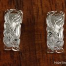 Sterling Silver Hawaiian Scroll Half Moon Post Earrings SE36301