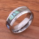 Abalone Shell Inlaid Tungsten Beveled Edge Wedding Ring 8mm TUR1010