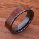 Natural Koa Wood High-tech Black Ceramic Wedding Ring Flat 6mm TUR4008