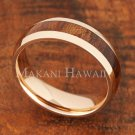 6mm Koa Wood Pink Gold Plated Stainless Steel Wedding Ring Oval SLR6114