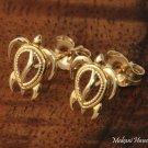 14K Yellow Gold Sea Turtle (Honu) Post Earrings Hawaiian Jewelry GE2142