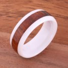 Natural Hawaiian Koa Wood Inlaid High Tech White Ceramic Oval Ring 8mm TUR4013
