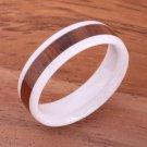 Natural Hawaiian Koa Wood Inlaid High Tech White Ceramic Oval Ring 6mm TUR4014