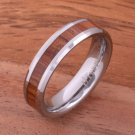 Natural Hawaiian Koa Wood Inlaid Tungsten Beveled Edge Wedding Ring 5mm TUR379