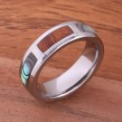 Natural Hawaiian Koa Wood and Abalone Inlaid Tungsten Block Ring 6mm TUR4027