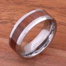 Natural Koa Wood (Big Island Koa) Tungsten Wedding Ring Beveled Edge 8mm TUR377