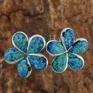 Sterling Silver Blue Opal 25mm Plumeria Post Earrings SOE108