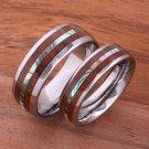 Koa Wood Inlaid Center Abalone Tungsten Wedding Ring Set TUR4024/TUR4025