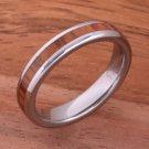 Natural Hawaiian Koa Wood(Big Island Koa) Tungsten Wedding Ring Oval 4mm TUR4021