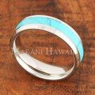 6mm Turquoise Stainless Steel Wedding Ring Beveled Edge SLR6202