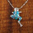 Sterling Silver Blue Opal Frog Pendant Hawaiian Jewelry SOP1044