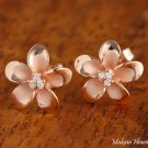 Sterling Silver PG Plated 12mm Plumeria with 3 Clear CZ Post Earrings SE58409