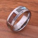 Natural Hawaiian Koa Wood and Abalone Inlaid Tungsten Block Ring 8mm TUR4026
