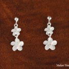 Sterling Silver Bead and Two Plumeria Flwoer with Clear CZ Post Earrings SE17901