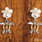 Sterling Silver Two-Tone YG Plated 8mm Plumeria and Honu Post Earrings SE22205