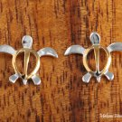 Sterling Silver Two-Tone YG Plated Sea Turtle (Honu) Post Earrings (M) SE23905